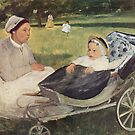 Edgar Degas French Impressionism Oil Painting Nursemaid Nanny with Child in Carriage by jnniepce