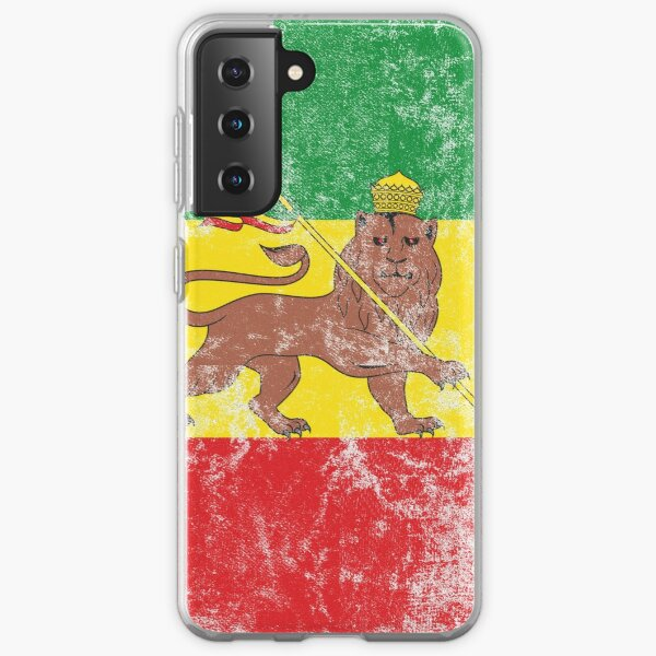 Old Flag of Ethiopia Lion of Judah Rastafarian Reggae Vintage Distressed Print Samsung Galaxy Soft Case
