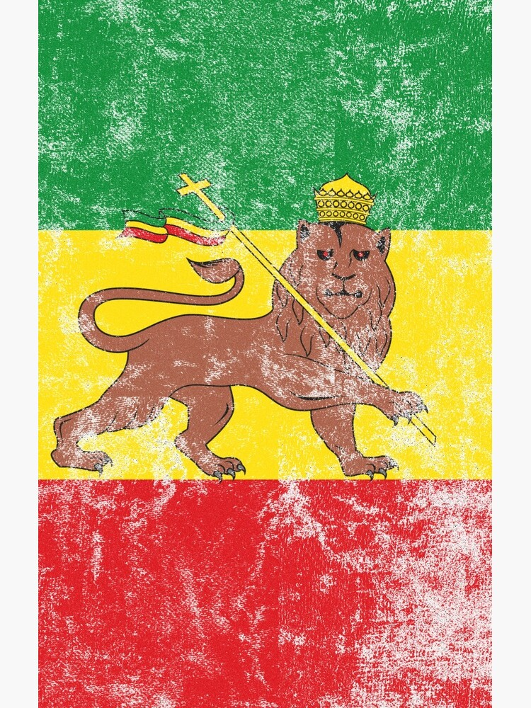 Old Flag of Ethiopia Lion of Judah Rastafarian Reggae Vintage Distressed Print by thespottydogg