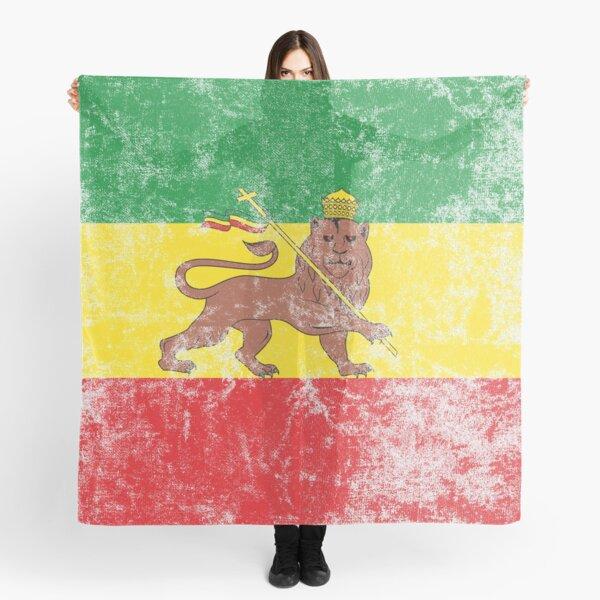 Old Flag of Ethiopia Lion of Judah Rastafarian Reggae Vintage Distressed Print Scarf
