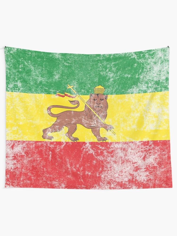 Alternate view of Old Flag of Ethiopia Lion of Judah Rastafarian Reggae Vintage Distressed Print Tapestry