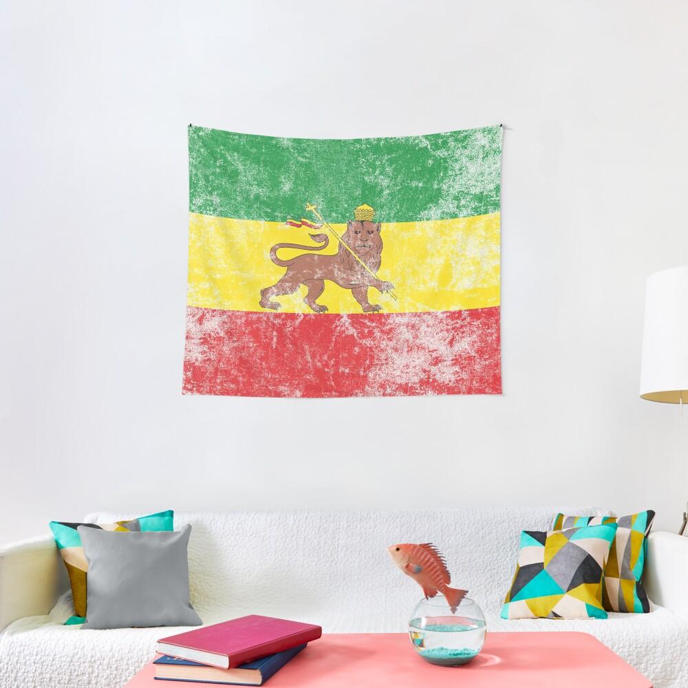 Old Flag of Ethiopia Lion of Judah Rastafarian Reggae Vintage Distressed Print Tapestry