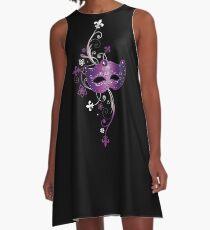 Karnevals Maske, Fleur De Lis und Blumen. A-Linien Kleid