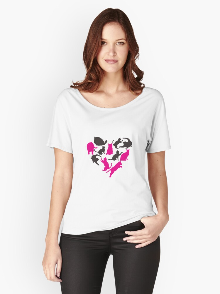 'Heart With Cats T-Shirt: Funny Valentine's Day Gift For pet Lovers' Women's Relaxed Fit T-Shirt by Dogvills