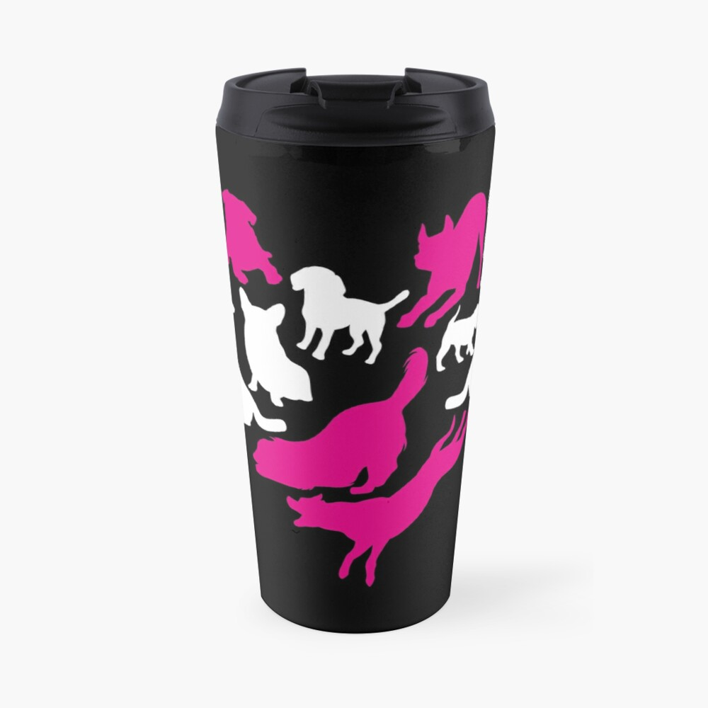 'Heart With Dogs T-Shirt: Funny Valentine's Day Gift For pet Lovers' Travel Mug by Dogvills