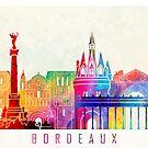 Bordeaux landmarks watercolor poster by paulrommer