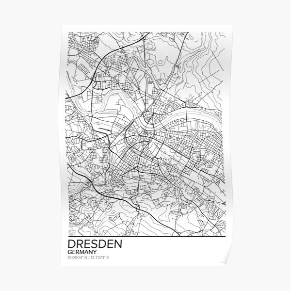 Dresden map poster print wall art, Germany gift printable, Home and Nursery, Modern map decor for office, Map Art, Map Gifts Poster