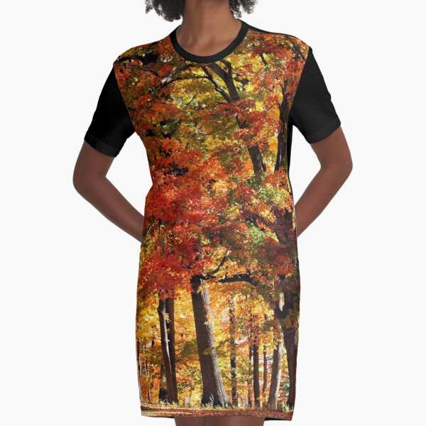 Colors Of Fall Graphic T-Shirt Dress