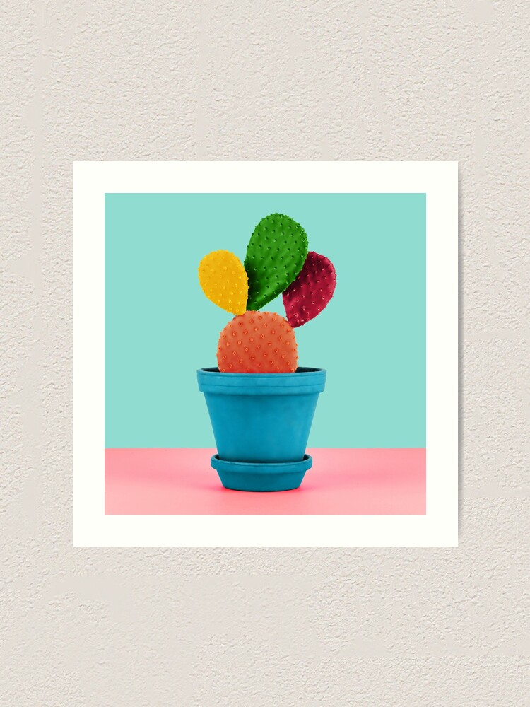 Alternate view of Colorful popart cactus Art Print