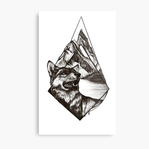 Wolf in Alpin Mountains Metallbild