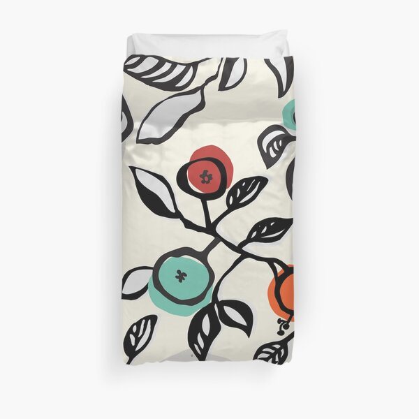 Sketchy Abstract Leaves Duvet Cover
