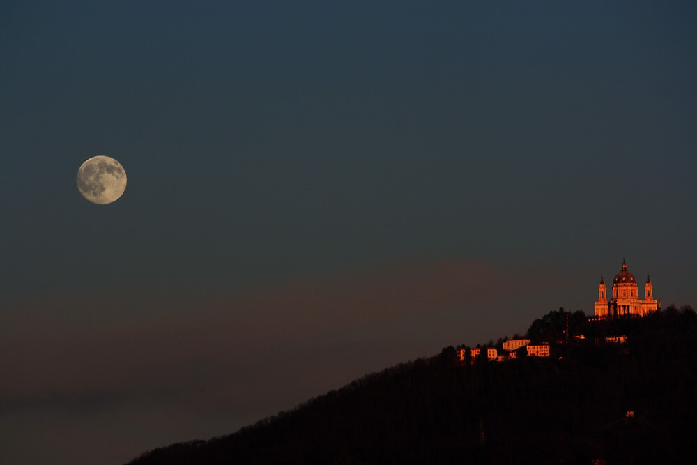 Full Moon climbing the Superga hill by Stefano  De Rosa