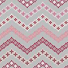Flower Chevron in Grey, Pink and White by PaulaOhreen