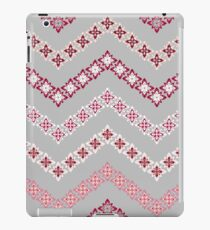 Flower Chevron in Grey, Pink and White iPad Case/Skin