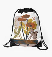 Poppy ikebana botanical print Drawstring Bag