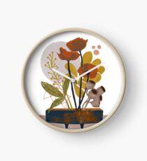Poppy ikebana botanical print Clock
