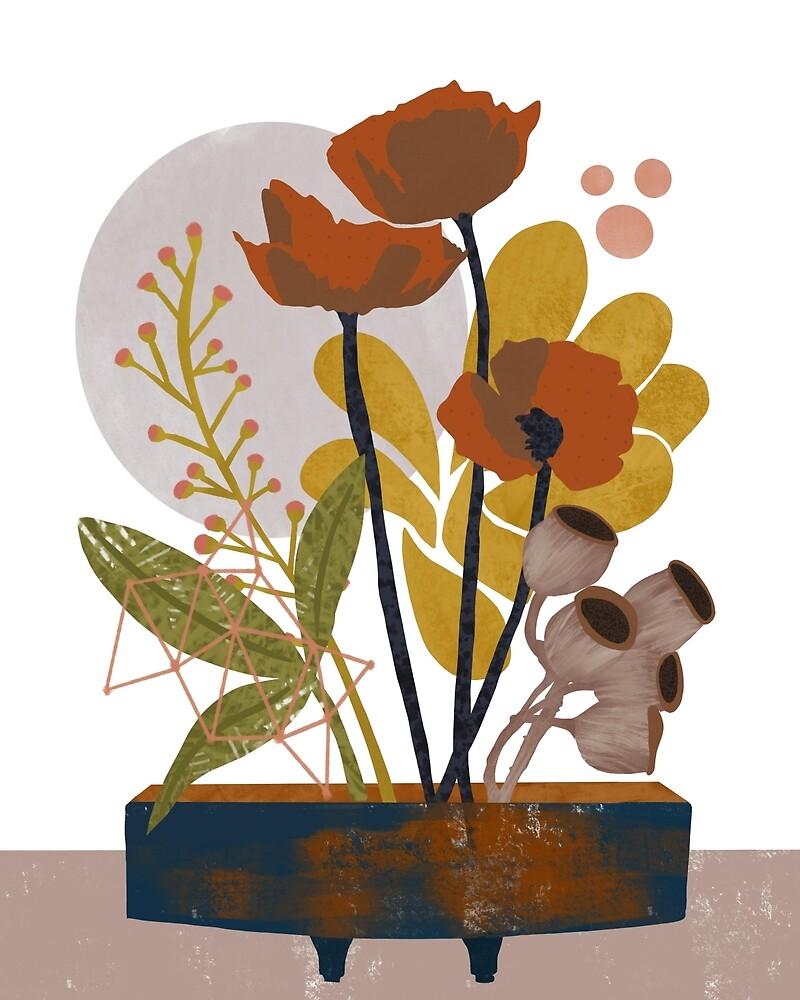 Poppy ikebana botanical print by BirdsongPrints