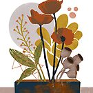 Poppy ikebana botanical print by BirdsongPrints
