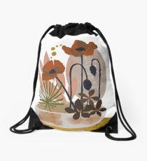 Poppy ikebana botanical print #2 Drawstring Bag