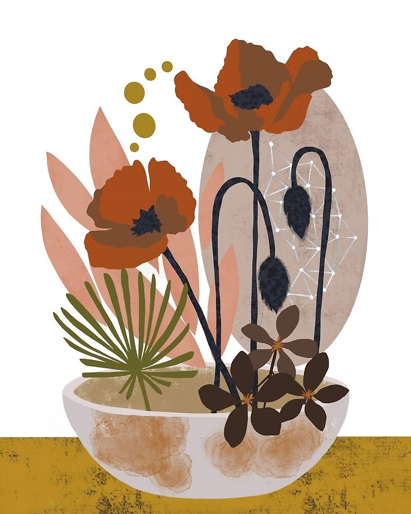 Poppy ikebana botanical print #2 by BirdsongPrints