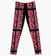 Cheer Captain Gift - Be Aggressive Be Be Aggressive - Cheerleader Birthday - Cheerleading Back To School Present Leggings