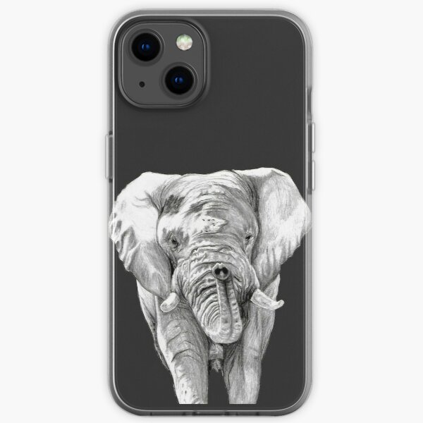 African Elephant in Graphite iPhone Soft Case