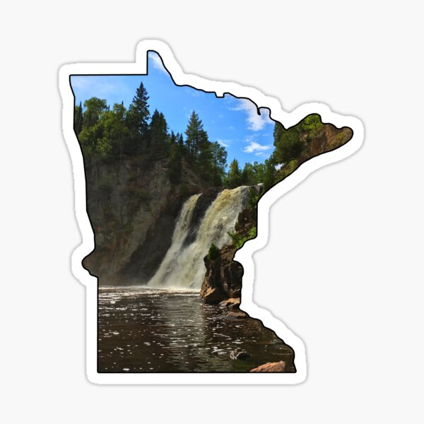 Minnesota State Outline (Tettegouche State Park, Baptism River & the High Falls) Sticker