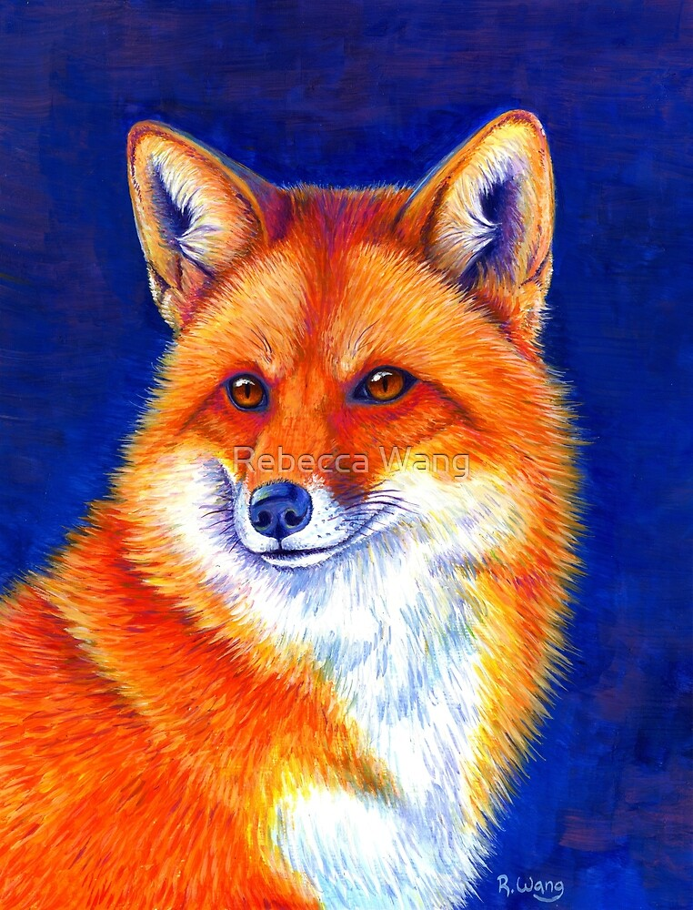Vibrant Flame - Colorful Red Fox by Rebecca Wang