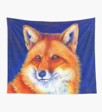 Colorful Red Fox Portrait Wall Tapestry