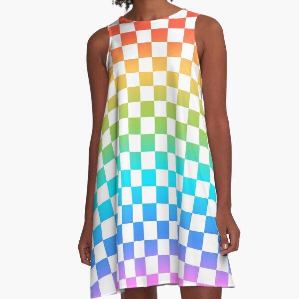 Rainbow Checkerboard  A-Line Dress