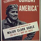 Vintage Hollywood Nostalgia Combat America Clarke Gable Film Movie Advertisement Poster by jnniepce
