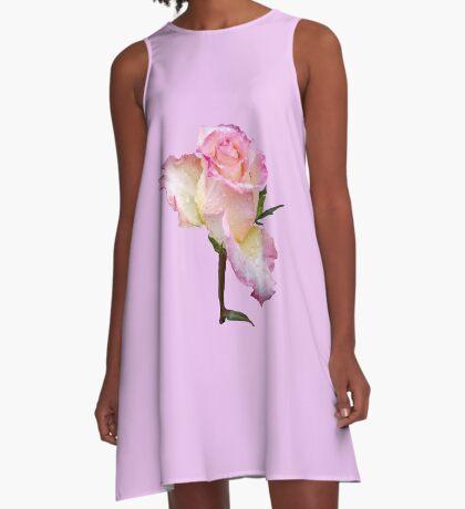 pinke Rose mit den ersten Regentropfen des Tages A-Linien Kleid