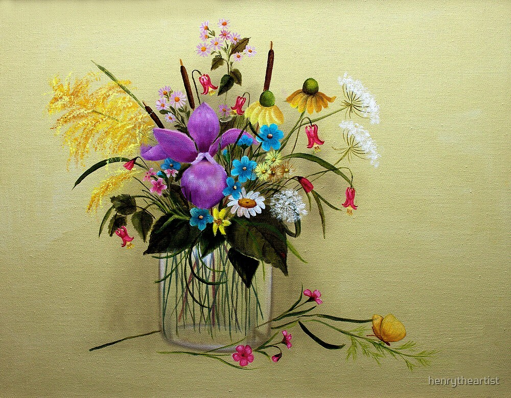 Wildflowers in a Vase - A wish for spring by henrytheartist