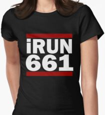 I Run 661 area code Design Bakersfield Running Design Gift Women's Fitted T-Shirt