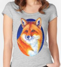 Colorful Red Fox Portrait Women's Fitted Scoop T-Shirt
