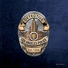 Los Angeles Police Department - LAPD Detective Badge over Blue Velvet by Serge Averbukh