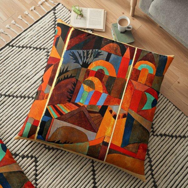 Klee - Temple Gardens, abstract art Floor Pillow
