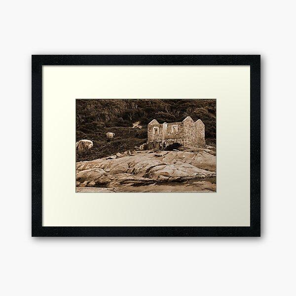 Lighthouse Keepers Cottage Sepia Framed Art Print