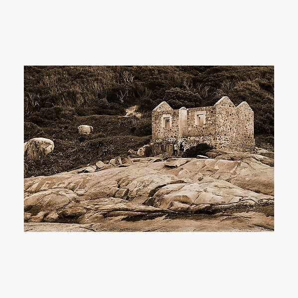 Lighthouse Keepers Cottage Sepia Photographic Print