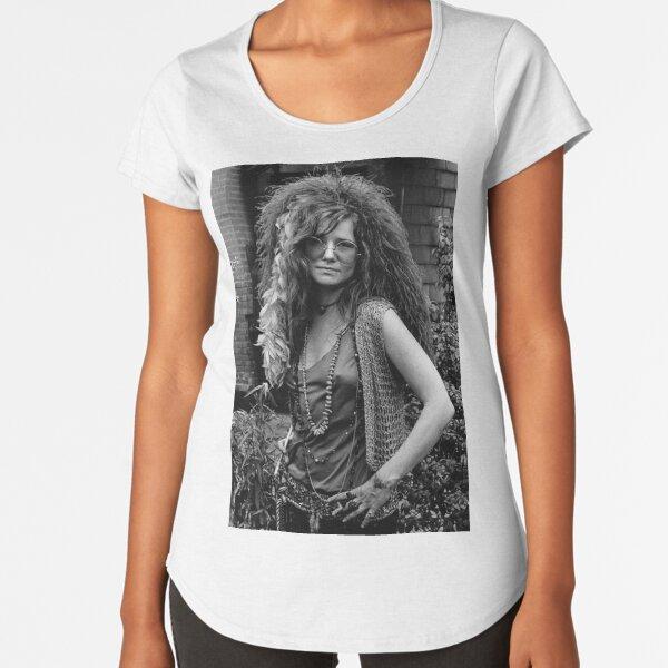 Janis Joplin Camiseta premium de cuello ancho