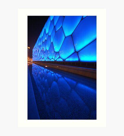 Blue water building Art Print