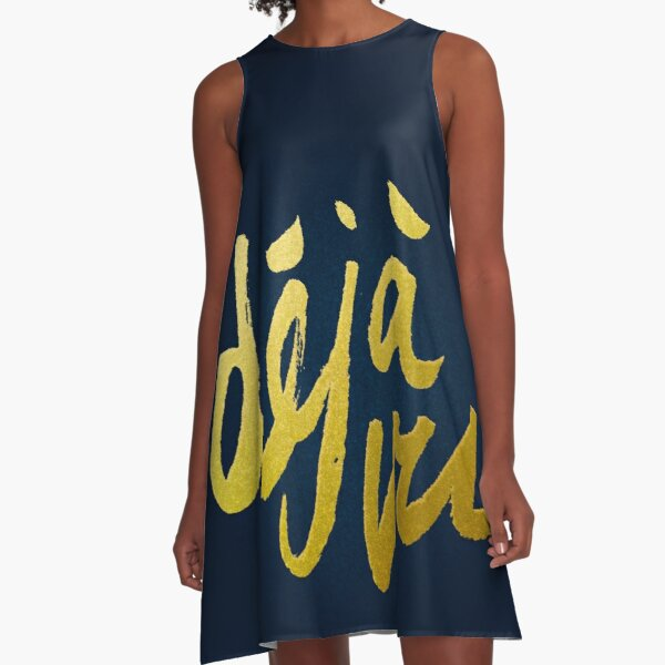 Déjà Vu - Gold Lettering A-Line Dress