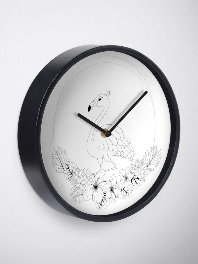 Alternate view of Just add Colour - Tropical Flamingo Clock