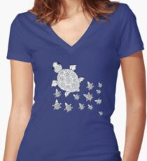 Just add Colour - Mumma Turtles Fitted V-Neck T-Shirt