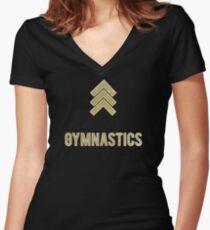 Camiseta entallada de cuello en V gimnasia gimnasia