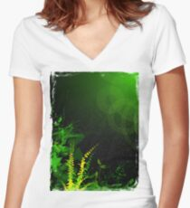 Abstract Digital Green Leaves Background Women's Fitted V-Neck T-Shirt