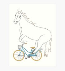 horse on a bicycle Art Print