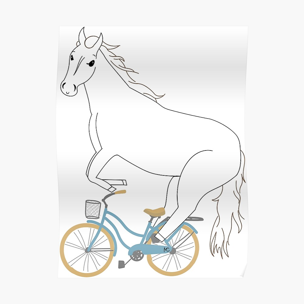 horse on a bicycle Poster