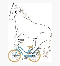 horse on a bicycle Photographic Print