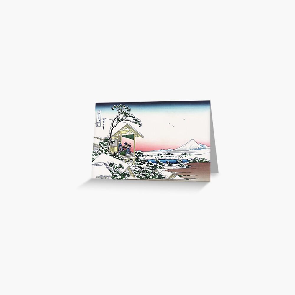 Tea House At Koishikawa The Morning After A Snowfall By Katsushika Hokusai Greeting Card By Takeda Art Redbubble